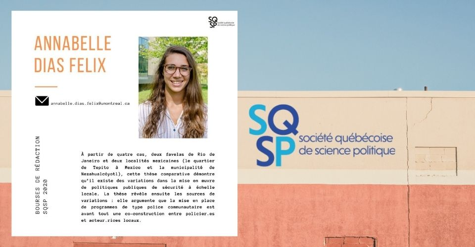ANNABELLE DIAS FELIX RECEIVES THE SQSP WRITING SCHOLARSHIP FOR PHD STUDENTS