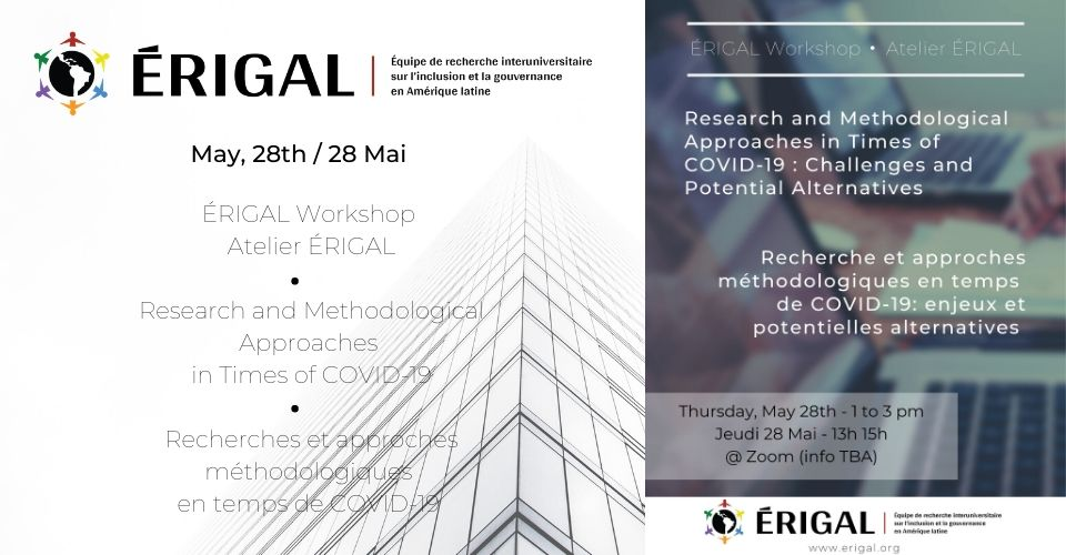 ERIGAL WORKSHOP: RESEARCH AND METHODOLOGICAL APPROACHES  IN TIMES OF COVID-19. CHALLENGES AND POTENTIAL ALTERNATIVES.